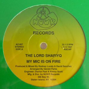 "Lord Shafiyq - My Mic Is On Fire / Kool Kat12"" Vinyl"